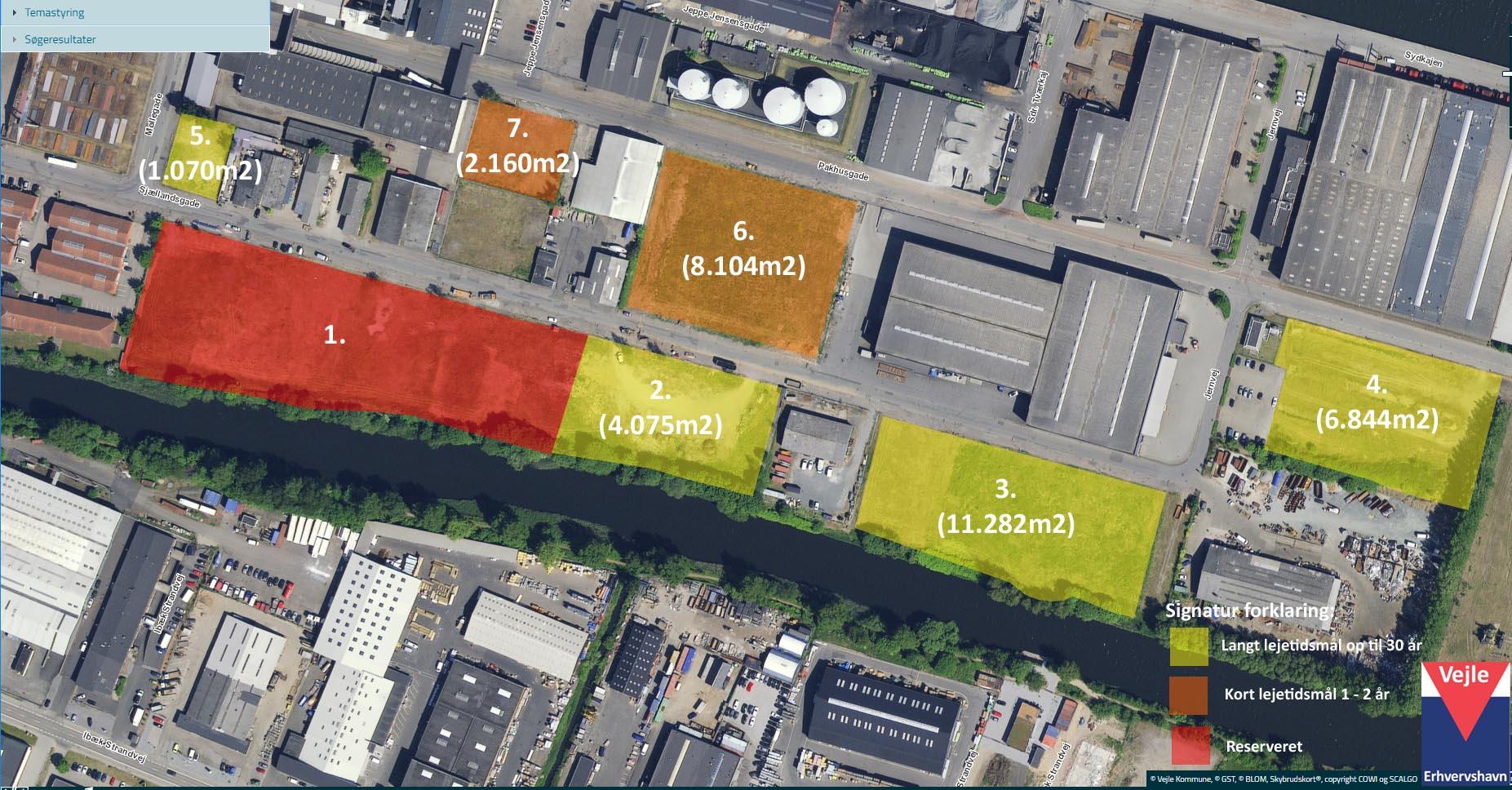 Oversigtskort over ledige arealer på Vejle Erhvervshavn